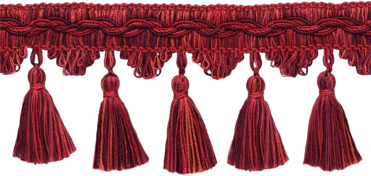 Color: Merlot Chinese Red 4.5M // 15 Ft D/ÉCOPRO 5 Yard Value Pack of Veranda Collection 3.5 Inch Tassel Fringe Trim Style# VTF035 Maroon Black Cherry VNT12