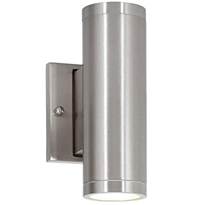 """8"""" Dual Up and Down Brushed Nickel Mini Outdoor Cylinder LED Wall Light Exterior Outside Lighting"""