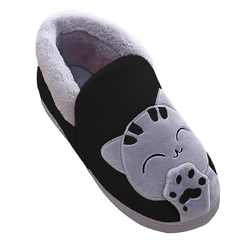 Adulto Unisex Zapatillas Suave Peluche Shoes Cartoon Gato Zapatos Pareja Slippers Negro BG 42-43: Amazon.es: Zapatos y complementos