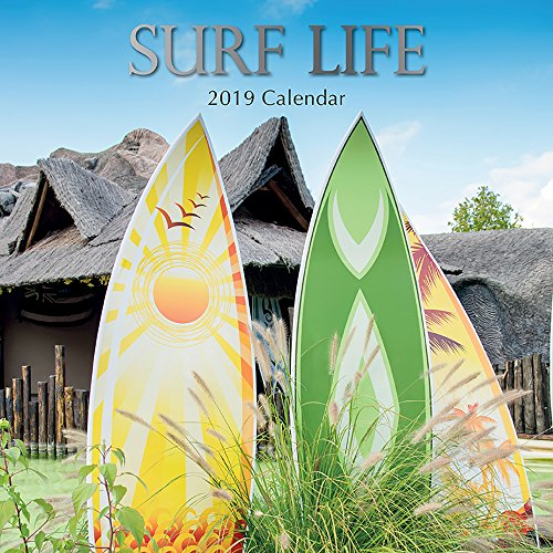 2019 Wall Calendar - Surf Life Calendar, 12 x 12 Inch Monthly View, 16-Month, Surfing Hobby Theme, Includes 180 Reminder Stickers