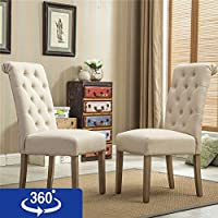 Roundhill Furniture Habit Solid Wood Tufted Parsons...