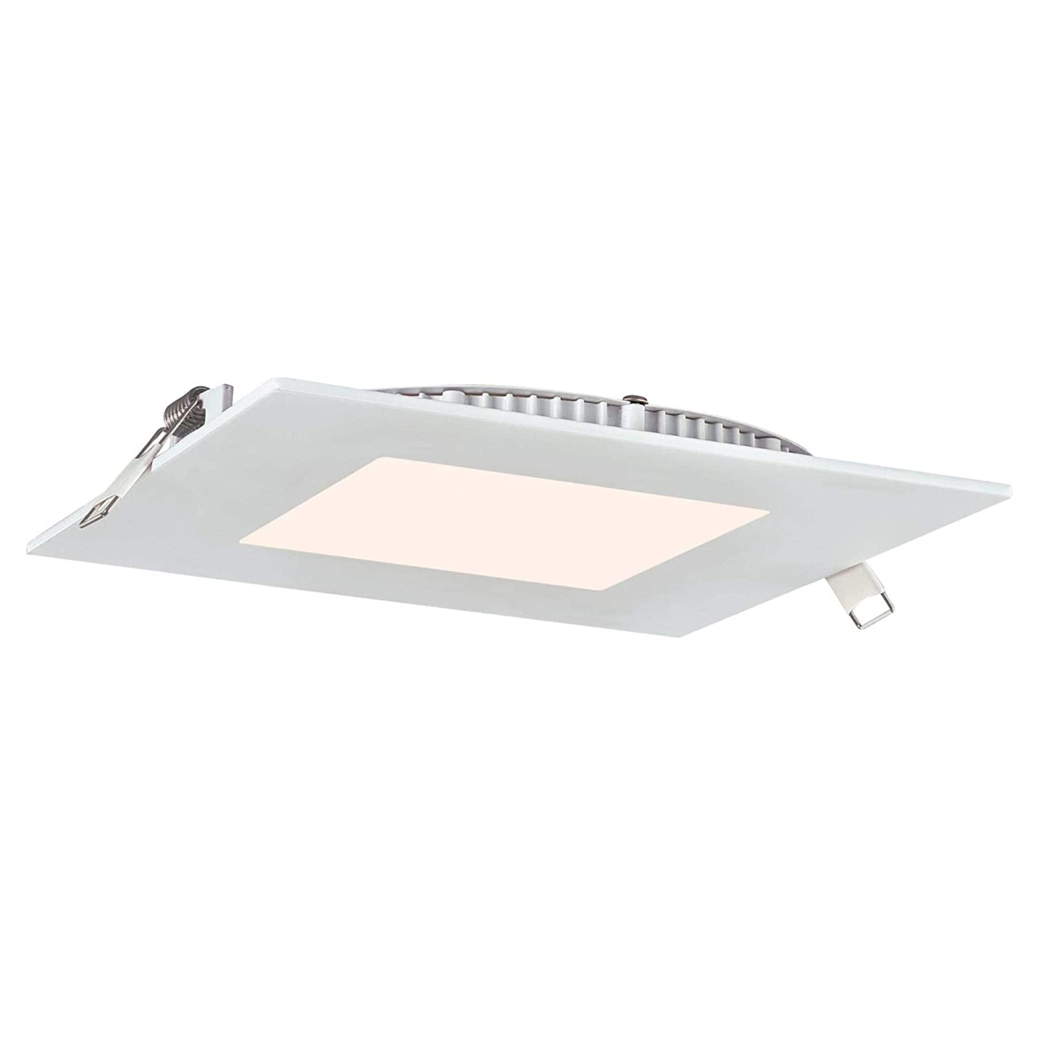 White Trim Slim Recessed Light Kits, Westinghouse Lighting 5192000 12 6-Inch Square LED Downlight Dimmable Cool Energy Star 80-Watt Equivalent