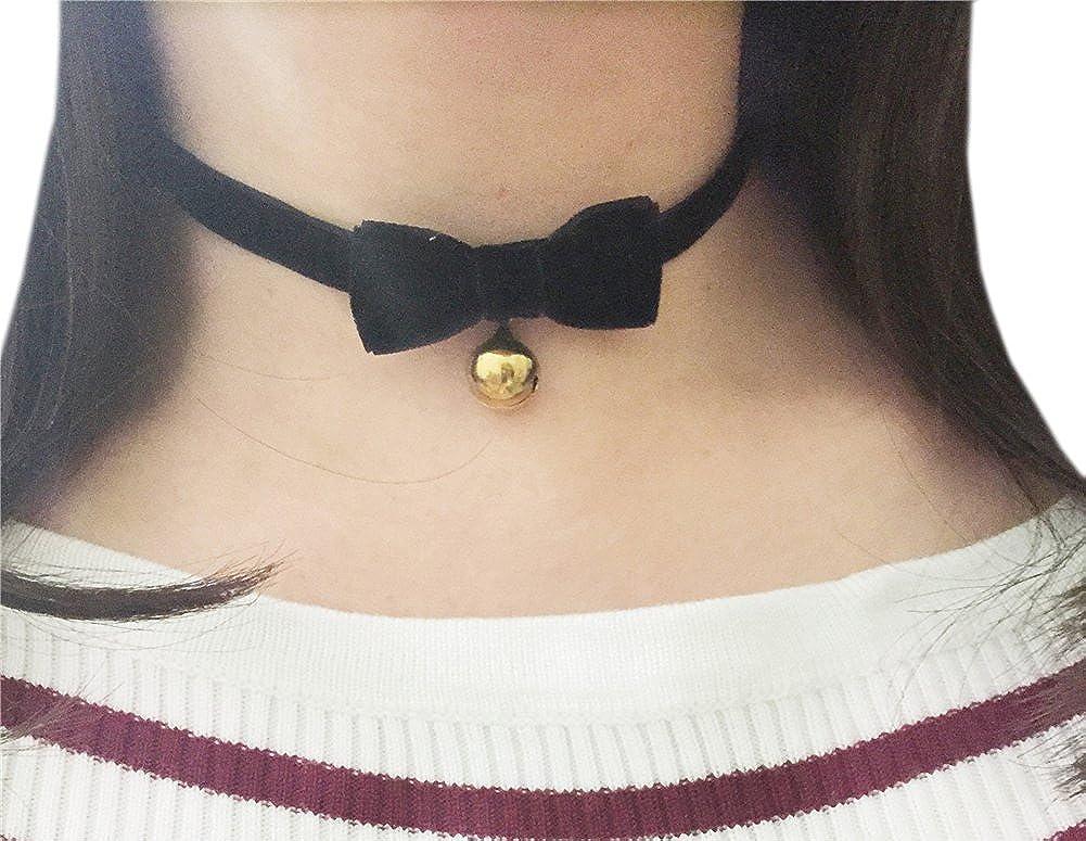 AnVei-Nao Vintage Lolita Cosplay Gothic Black Velvet Bow Bell Choker Necklace VJ2654