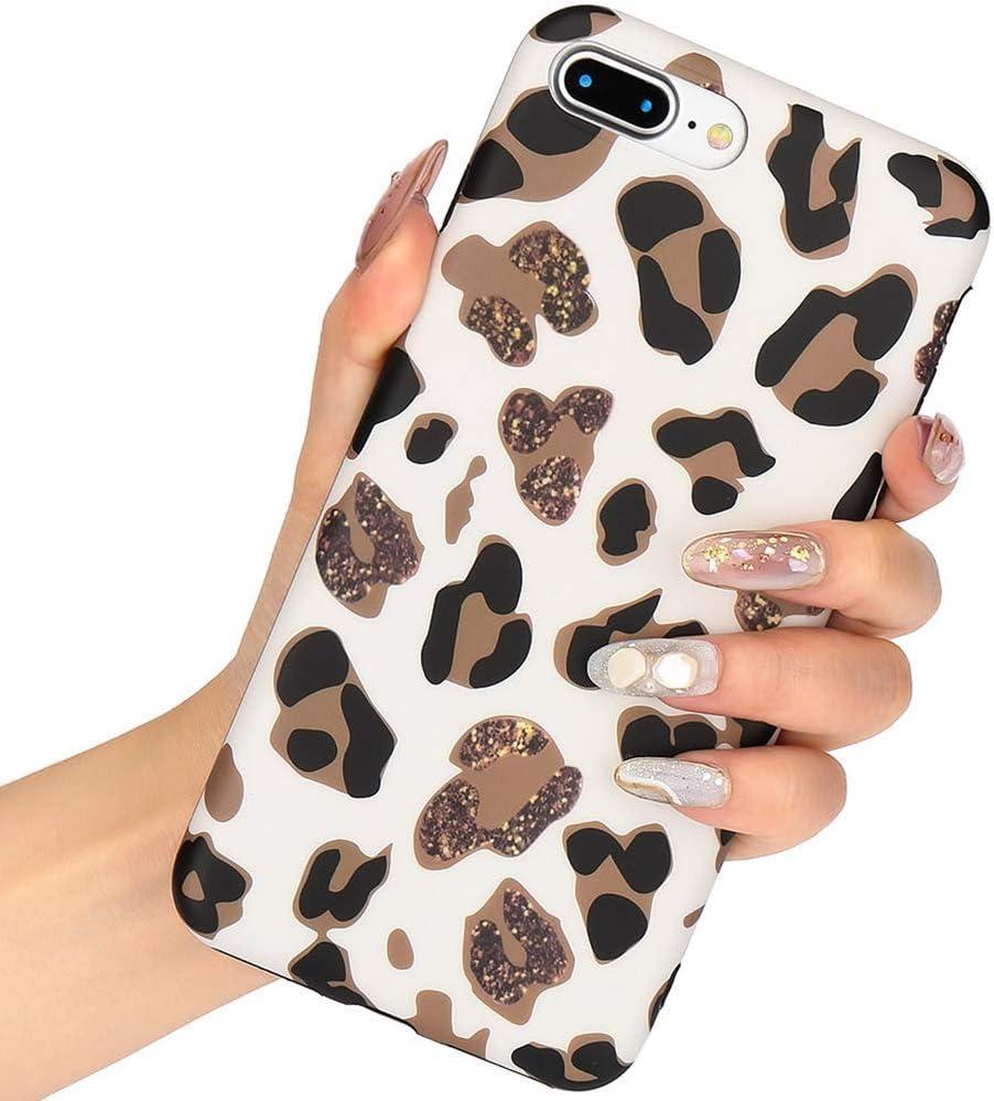 Leopard Print Phone Case Cool for iPhone 7 Plus iPhone 8 Plus, Ultra Thin Giraffe Pattern Cute Back Cover Skin Cheetah Cat Silicone TPU Protective Cover for iPhone 7 Plus/8 Plus Case-Leopard/White