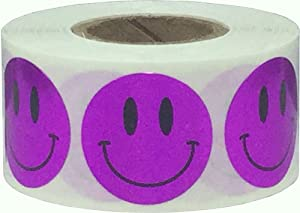 Metallic Purple Happy Face Labels 1 Inch 500 Total Adhesive Stickers