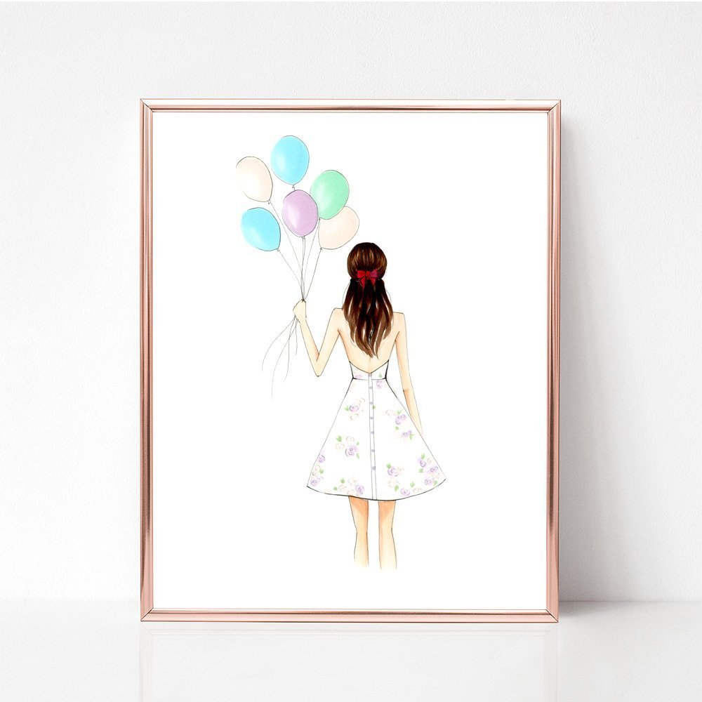 Unframed Birthday Girl Fashion Illustration Art Print