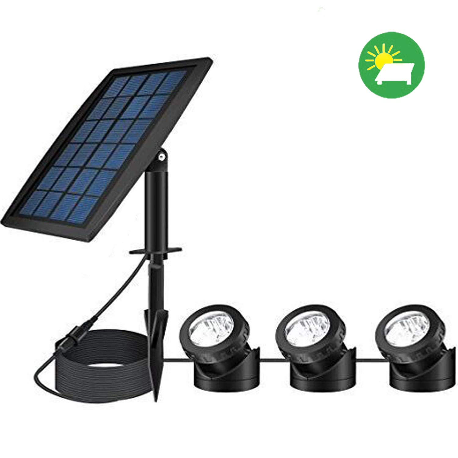 FEIFEIER Solar Pond Spotlights,Weatherproof Solar Powered Pure White Color LED Landscape Spotlight 3 Lamps Adjustable Lighting Angle Bright Security Lighting for Garden Pool Pond Outdoor Decoration by FEIFEIER