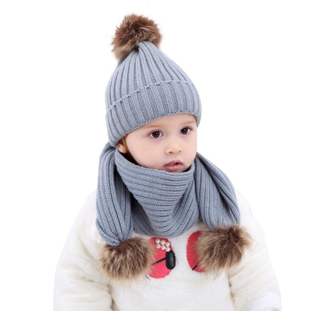 BYSTE Ragazza Ragazzo Neonati Carina Palla Cap Mantieni Caldo Inverno a maglia cappelli Sciarpa Impostato