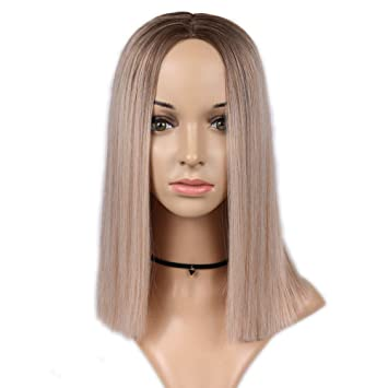 HYISHION Peluca Synthetic Pelucas Straight Bob For Women Natural Roots 2 Colores Pelucas Mujer Pelo Corto