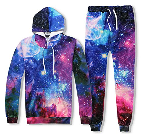 Galaxy Suit - Uhomedecor Men's Emoji Joggers Sweatpants/shirts Suit Galaxy Blue Sportswear Gym Sport