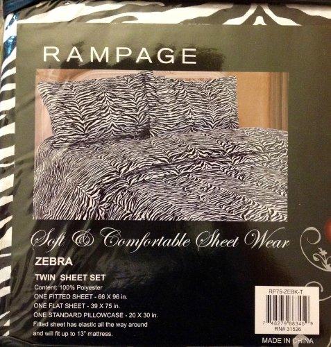 (Rampage Twin Sheet Set Zebra)