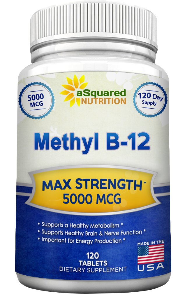 Vitamin B12 - 5000 MCG Supplement with Methylcobalamin (Methyl B-12) - Max Strength Vitamin B 12 Support to Help Boost Natural Energy & Metabolism, Benefit Brain & Heart Function - 120 Tablets by aSquared Nutrition