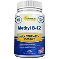 Vitamin B12 - 5000 MCG Supplement with Methylcobalamin (Methyl B-12) - Max Strength...