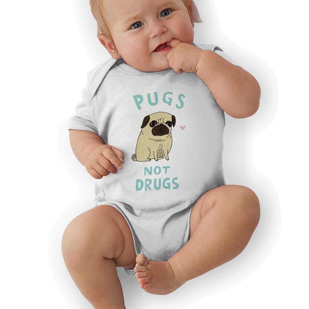 Infant Baby Girls Bodysuit Short-Sleeve Onesie Pugs Not Drugs Print Rompers Spring Pajamas