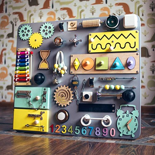 SmartKids-3 European quality. Handmade Wooden Busy board, Clever Puzzles, Locks and Latches Activity Board (Grey + Yellow + Blue) by Smart Kids
