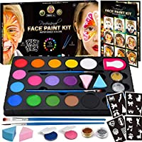 Zenovika Face Paint Kit for Kids - 60 Jumbo Stencils, 15 Large Water Based Paints, 2 Glitters - Halloween Makeup Kit…