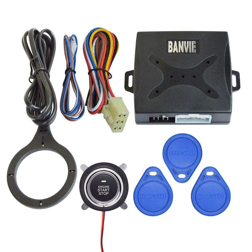 BANVIE Car Anti-Thief RFID Immobilizer Hidden Lock System with Keyless Go Engine Start Stop Push Button for Vehicle Double Layer Start Protection by BANVIE