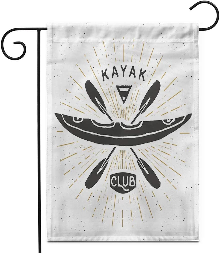 """Adowyee 28""""x 40"""" Garden Flag Canoe Kayak Club Vintage Label Sketch Retro Badge Activity Outdoor Double Sided Decorative House Yard Flags"""