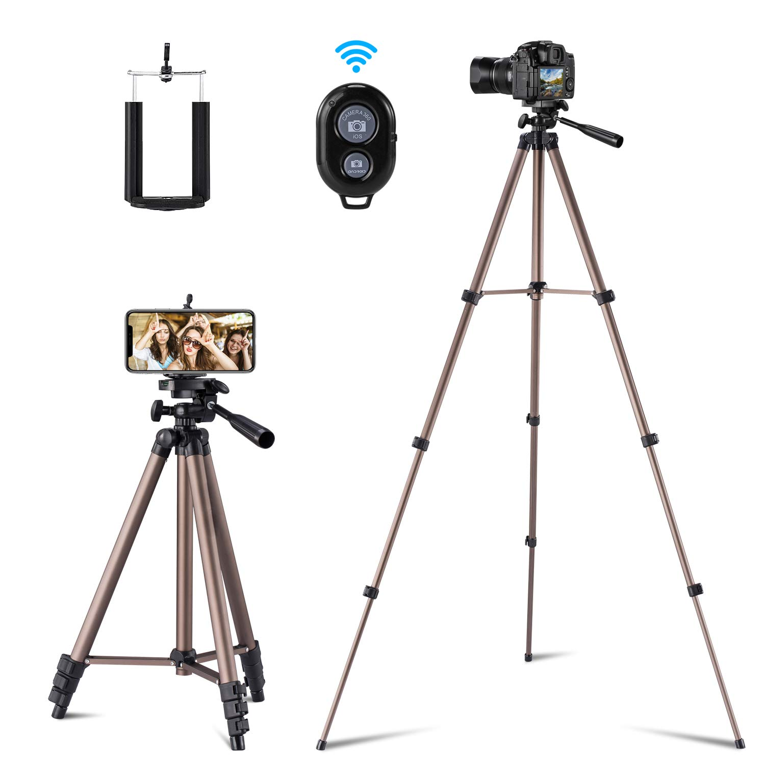 Apsung 50-inch Camera Tripod,Lightweight Portable Phone Tripod,with Carrying Bag & Wireless Remote & Cellphone Holder,Flexible Tripod Compatible with All Kinds of Smartphones/Camera/Action Camera