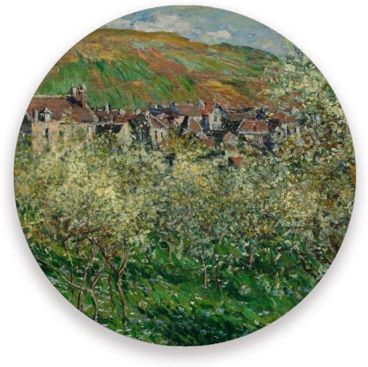Juego de posavasos absorbentes Ruchen, estilo Monet, pintura al óleo, color verde, árbol de montaña, cerámica, cerámica, como se muestra en la imagen, 2 unidades