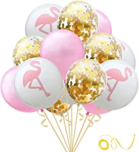 Hawaiian Flamingo Balloon Tropical Balloons with Round Confetti Wedding Birthday Party Supplies Decorations 24PCS(Gold)