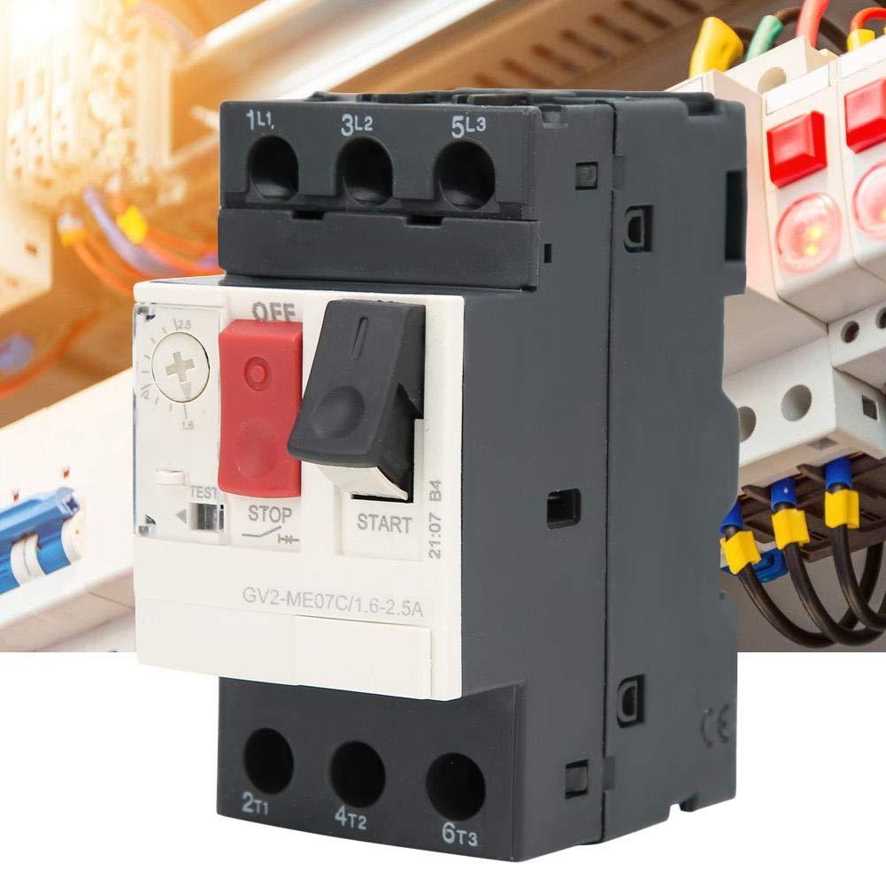 Disjoncteur de Protection Moteur pour la Protection de la Ligne de Distribution et la Conversion de Charge peu Fr/équente GV2 Disjoncteur Fr/équence 50 // 60HZ GV2-ME07C 1.6~2.5A