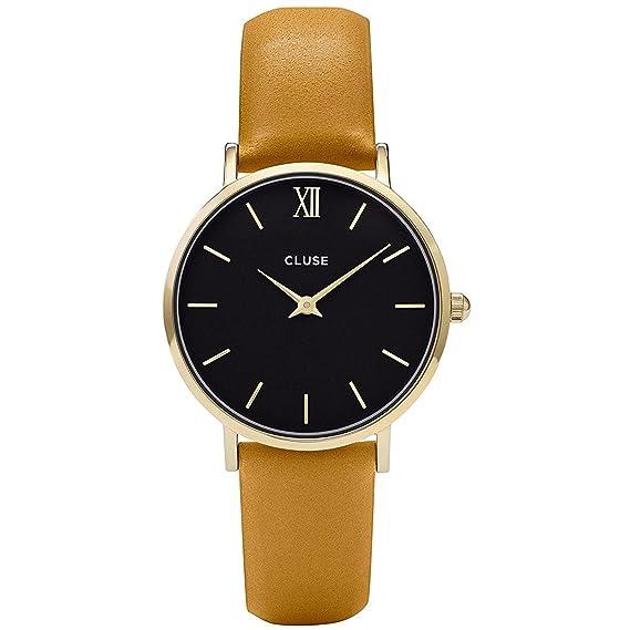 Cluse Reloj Digital de Cuarzo Unisex con Correa de Cuero - CL30035: Amazon.es: Relojes