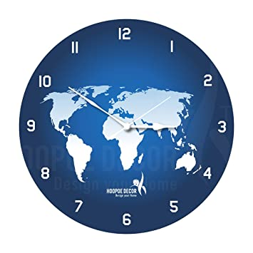 391114ad373 Buy Hoopoe Decor World map Trendy Wall Clock Online at Low Prices in India  - Amazon.in