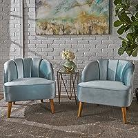 Scarlett Modern Seafoam Blue Velvet Club Chairs (Set of 2)