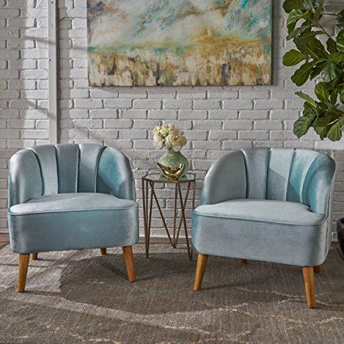 Christopher Knight Home 303562 Scarlett Modern Seafoam Blue Velvet Club Chairs (Set of 2), Walnut (Club Set Two Of Chairs)