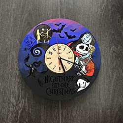 Nightmare Before Christmas Painted Wall Clock Made of WOOD - Perfect and Beautifully Cut - Decorate your Home with MODERN ART - UNIQUE GIFT for Him and Her - Size 12 Inches