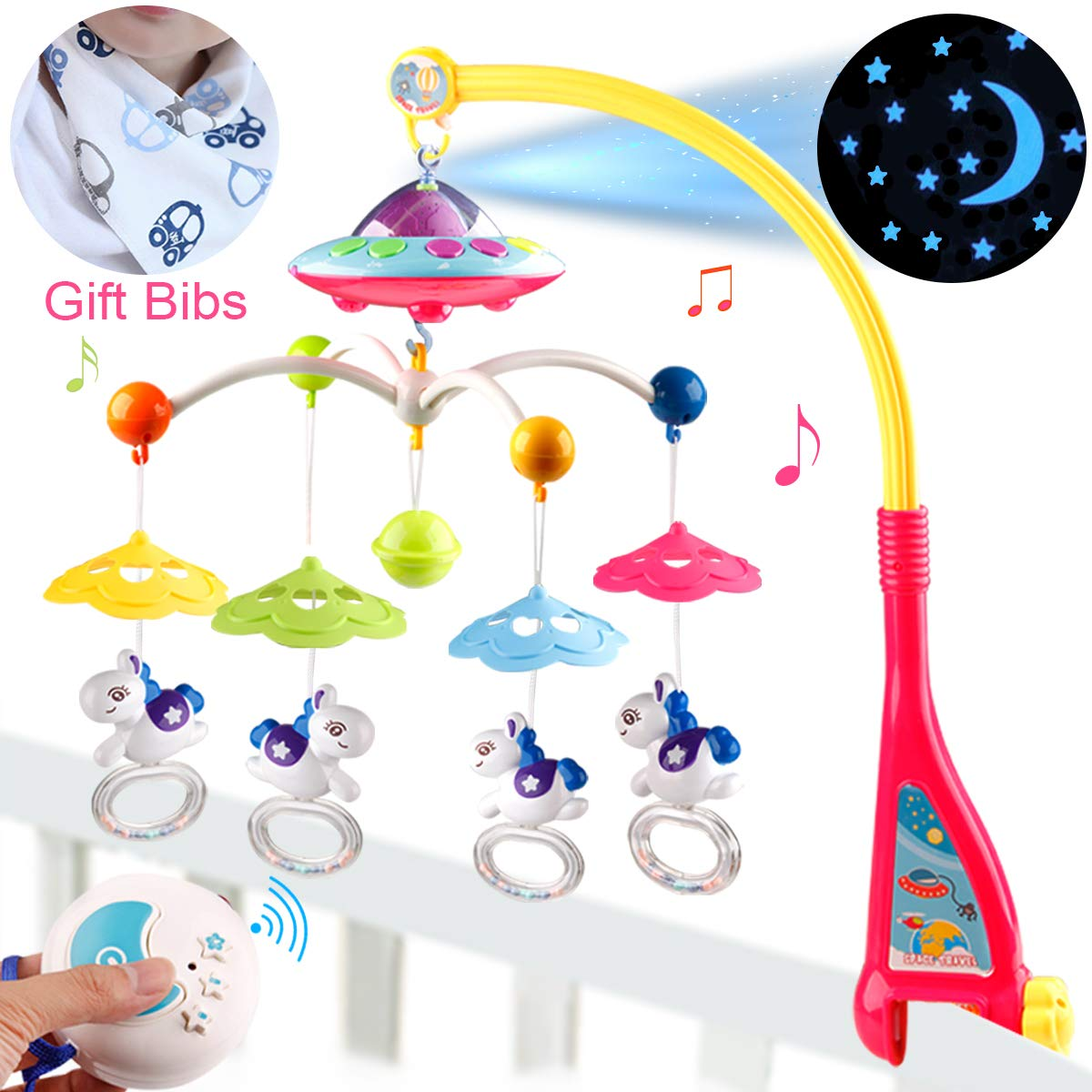 BOBXIN Baby Musical Crib Mobile with Projector,Light and 108 Melodies Music Box,Remote Control and Hanging Rattles Rotating,Gift for Newborn(with Bibs)