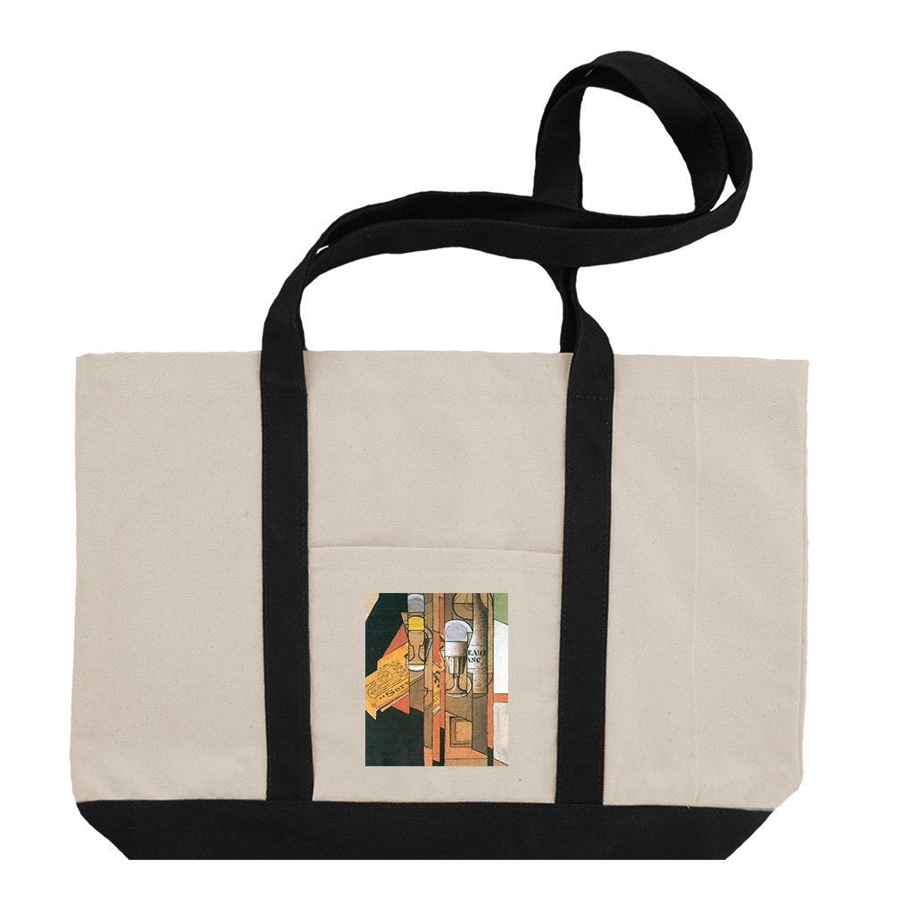 Glasses Newspaper & Wine (Juan Gris) Cotton Canvas Boat Tote Bag - Black