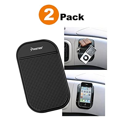 """Insten [2-Pack] Anti-Slip Car Dash Sticky Gel Pad Non-Slip Universal Mount Holder Mat 5.7\"""" x 3.5\"""" Compatible with Keychain Cell Phone iPhone 11/11 Pro/11 Pro Max/X/XS/XS Max/XR/8/7 + S9 S10/S10+/S10e [5Bkhe0101260]"""