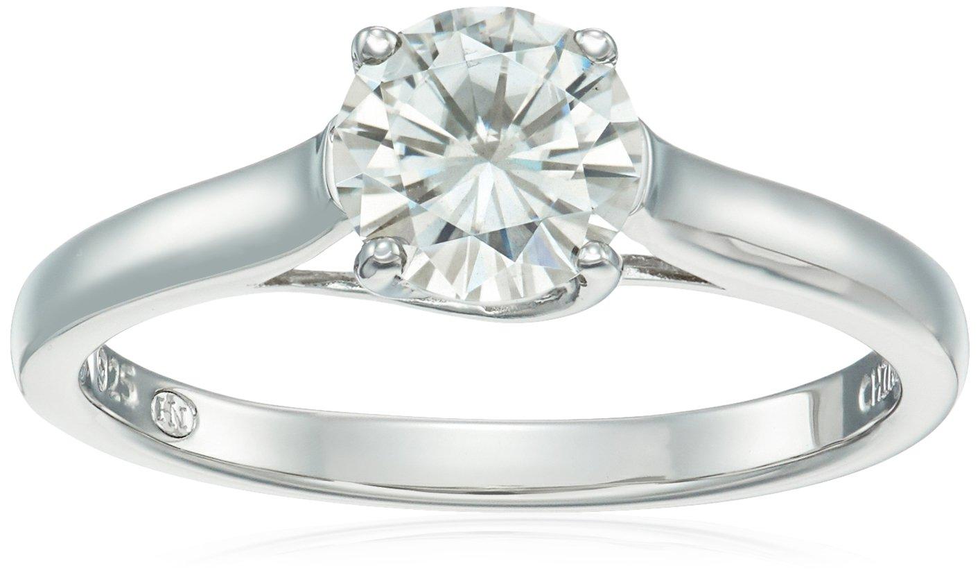 Platinum Over Sterling Silver Moissanite Ring, Size 7