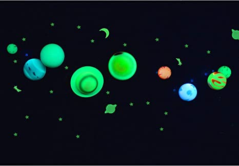 19 x 27.5cm 10 Pcs Glow in The Dark Stars and Planets Bright Solar System Wall Stickers,Glowing Ceiling Decals for Bedroom Living Room- Sun Earth Mars,Stars,Shooting Stars