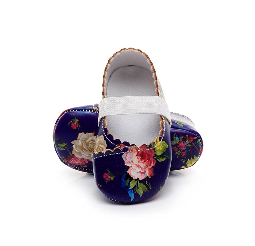 Voberry Baby Girl Floral Mary Jane Shoes Soft Sole Anti-slip First Walkers Sneakers