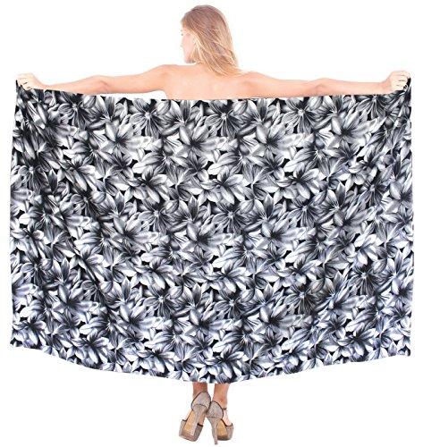 traje de baño ropa de playa del bikini falda del abrigo del traje de baño de las mujeres pareo de algodón de la vendimia Noir