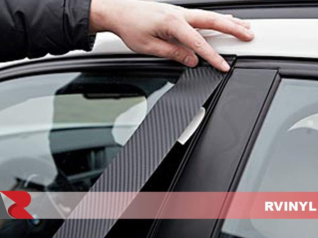Black Carbon Fiber 4D Rvinyl Rtrim Pillar Post Decal Trim for Jeep Grand Cherokee 2011-2017