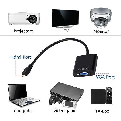 Nider 1080P Micro HDMI a VGA Hembra Cable de vídeo Adaptador convertidor para PC portátil Oficina