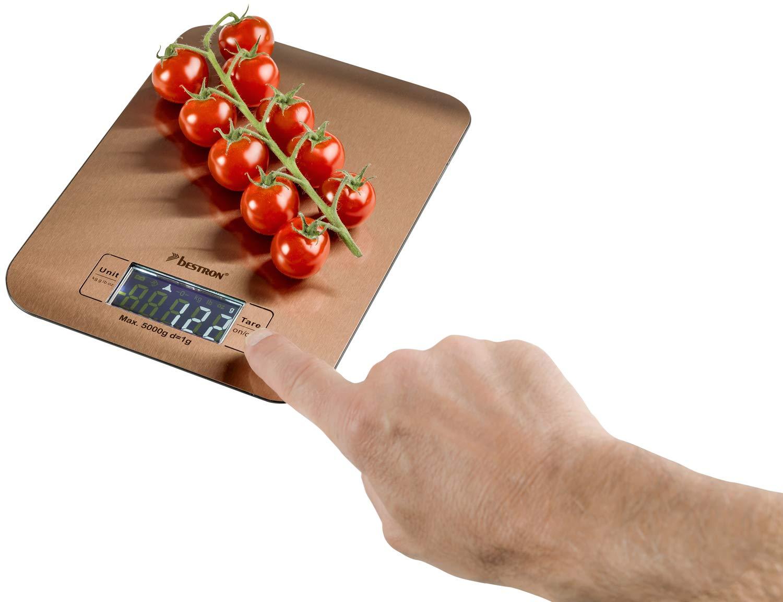 Bestron Digitale K/üchenwaage Pr/äzision auf 1 g Kupfer Mit LCD-Anzeige Tragkraft 5 kg