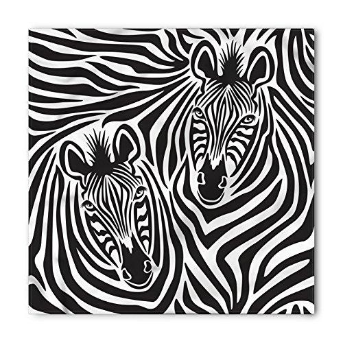 Ambesonne Safari Bandana, Couple of Zebras Eyes Face Heads Image Pattern Artistic Wild Animals Design, Printed Unisex Bandana Head and Neck Tie Scarf Headband, 22 X 22 Inches, Charcoal Grey White