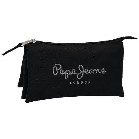 Pepe Jeans Estuche con Tres Compartimentos, Color Negro ...