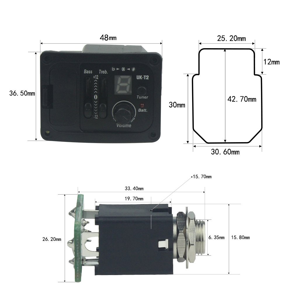 FLEOR 2 Bands EQ Pickup Tuner Equalizer with LCD Display & Volume Control For Ukelele by FLEOR (Image #6)