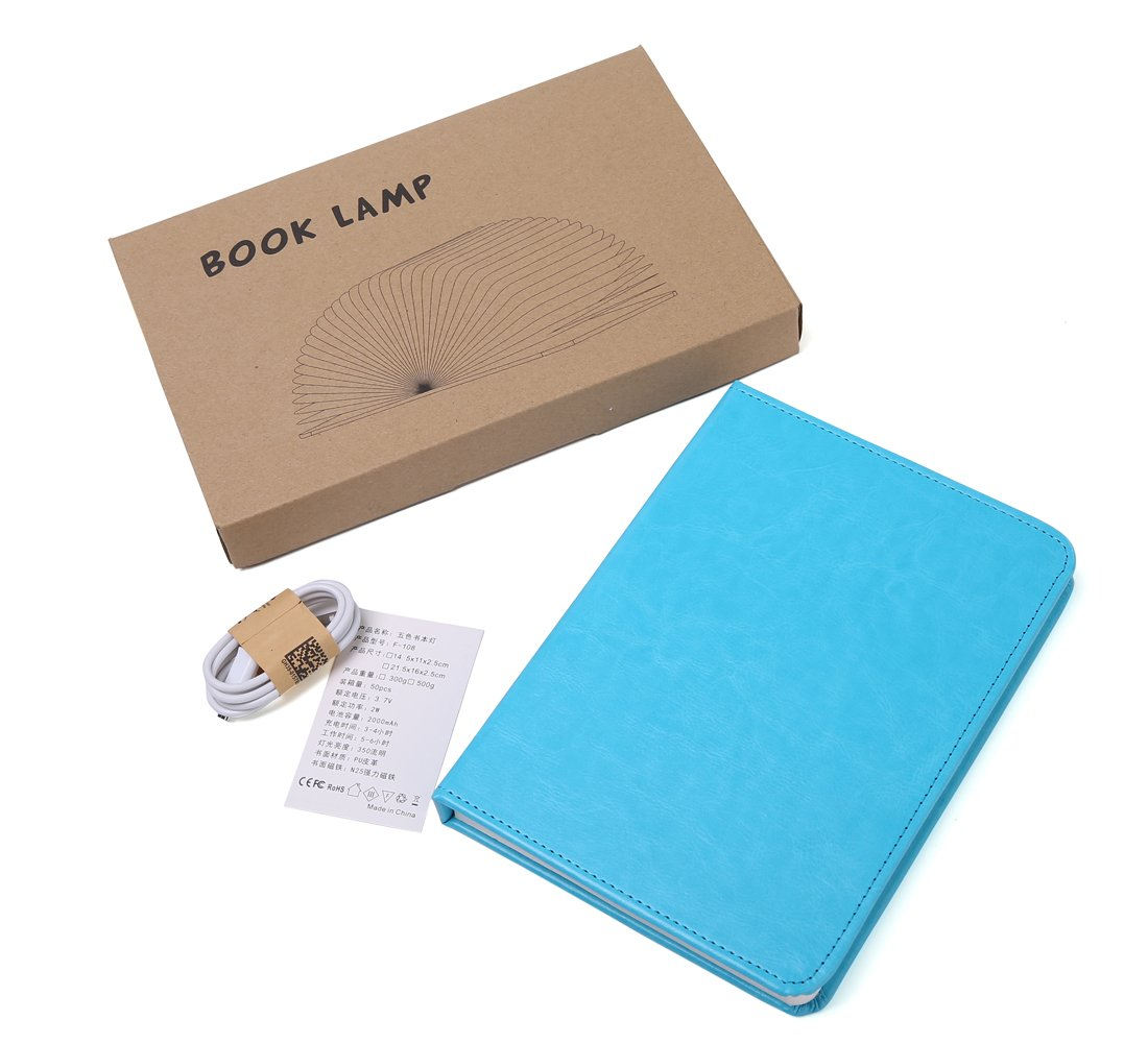 Open The Cover to Enjoy Bright LED Illumination Rechargeable Unique Gift Idea LPLDF210-Blue Lapens Book Colorful LED Light