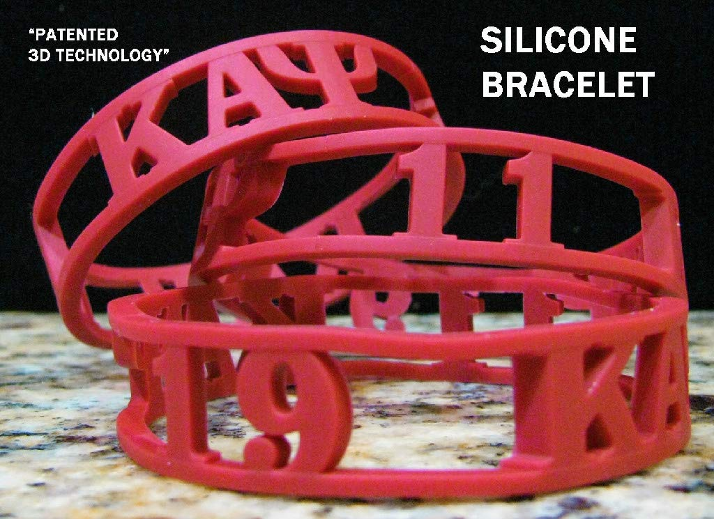 Cultural Exchange Kappa Alpha Psi 3D Cut Out Silicone Bracelet [Pack of 2 - Red] by Cultural Exchange (Image #1)