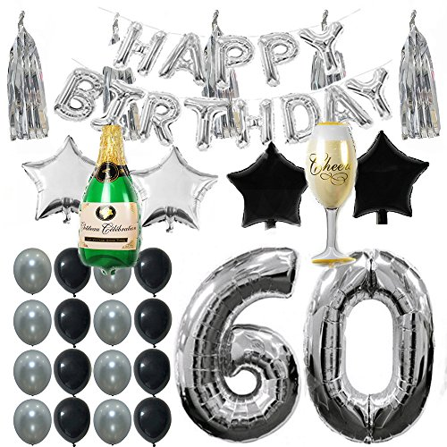 (Ezing 60th B-Day Party Supplies Decorations Kit Pack , Silver Tone Tassel and Happy Birthday Letters with Latex & Star Foil Balloons (60th))