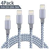 Vanzon Lightning Kabel, 4Pack 1M 2M 2M 3M Nylon iPhone Ladekabel iPhone Kabel USB Datenkabel für iPhone X/8/8 Plus/7/7 Plus/6S/6S Plus/6/6 Plus/5/5S/5C/SE, iPad Pro/Air/Mini, iPod Touch 5/6