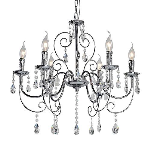 Crystal Chandelier Lighting 6 Lights Vintage Candle Style