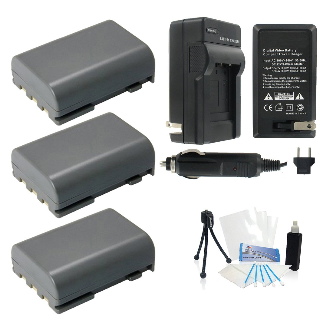 3-Pack NB-2LH High-Capacity Replacement Batteries with Rapid Travel Charger for Select Canon Digital Cameras. UltraPro Bundle Includes: Camera Cleaning Kit, Screen Protector, Mini Travel Tripod